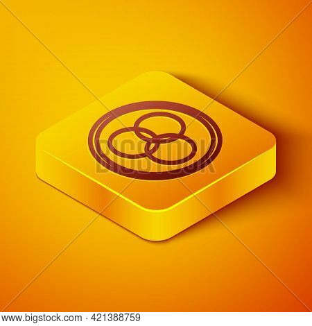 Isometric Line Rgb And Cmyk Color Mixing Icon Isolated On Orange Background. Yellow Square Button. V