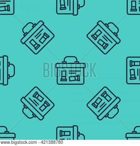 Black Line Military Ammunition Box With Some Ammo Bullets Icon Isolated Seamless Pattern On Green Ba