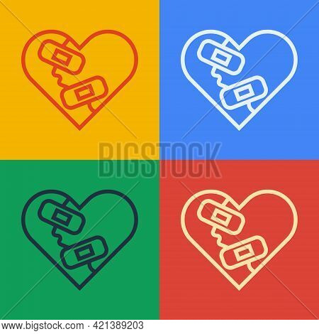 Pop Art Line Healed Broken Heart Or Divorce Icon Isolated On Color Background. Shattered And Patched