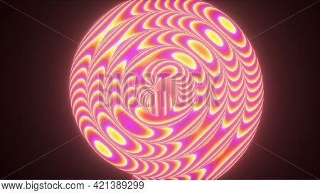 Abstract 3d Render Wire In Wavy Curvature. Twisty Motion With Distorted Gradient. Futuristic Decorat