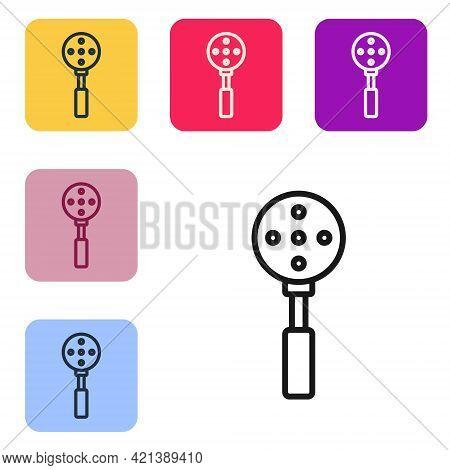Black Line Spatula Icon Isolated On White Background. Kitchen Spatula Icon. Bbq Spatula Sign. Barbec