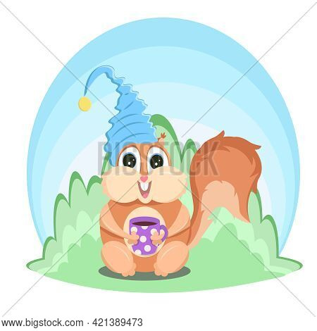 Cartoon Chipmunk With Lush Tail In Nightcap Holds Cup Of Coffee. Squirrel Vector Illustration Isolat