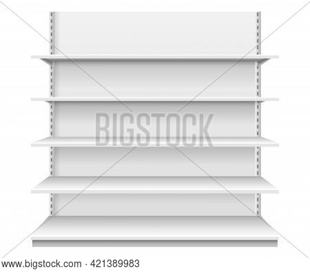 Store Shelves. White Empty Supermarket Shelf. Realistic Front View Showcase Display For Product Adve