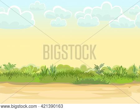 Rural Road To Green Glade. Summer Meadow. Trail. Juicy Grass Close Up. Grassland Country. Cartoon St