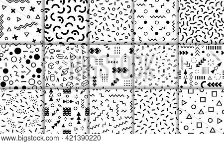 Memphis Patterns. Funky Retro 90s Style Abstract Backgrounds With Geometric Graphic Elements. Fashio