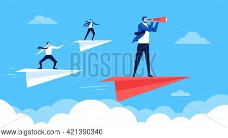 Business Leadership. Businessmen Flying On Paper Planes, Going To Success, Following Leader. Leaders