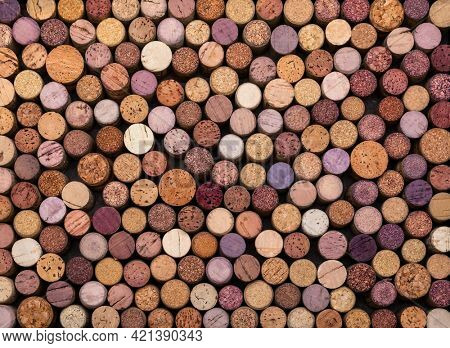 Collection of used wine corks top view