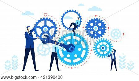 Business People With Gears. Team Working Together Turning Gears. Teamwork, Work Organization, Cooper