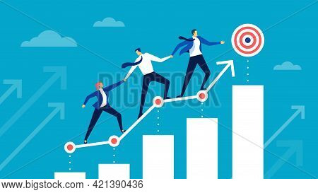 Goal Achievement. Business Team Running To Target. Coworkers Helping Each Other Achieve Goals. Caree