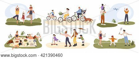 Family Outdoor Activity. Parents And Children Spending Time Together. Having Picnic, Doing Yoga, Cyc