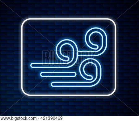 Glowing Neon Line Windy Weather Icon Isolated On Brick Wall Background. Cloud And Wind. Vector