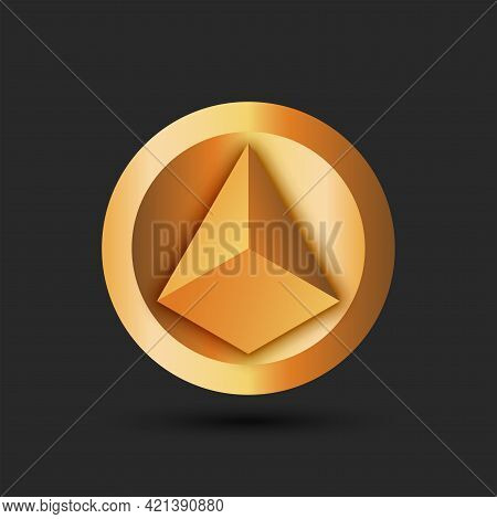 Pyramid Logo For Cryptocurrency On A Round Gold Background Volumetric 3d Geometric Shape Yellow Grad