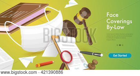 3d Vector Conceptual Illustration Of Mandatory Face Coverings By-law, No Face Mask No Service