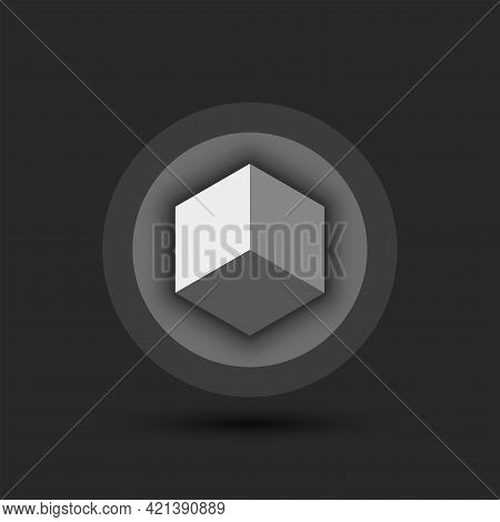 Cube Logo For Cryptocurrency On A Volumetric Round Gray Background 3d Isometric Geometric Shape.