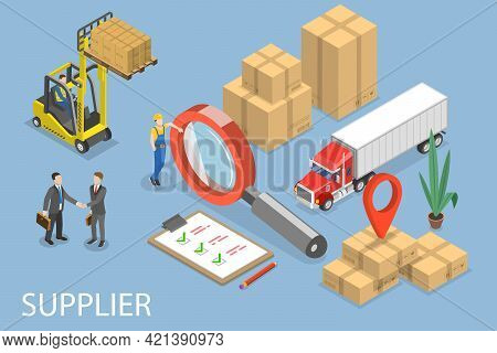 3d Isometric Flat Vector Conceptual Illustration Of Supplier Management, Global Logistics And Distri