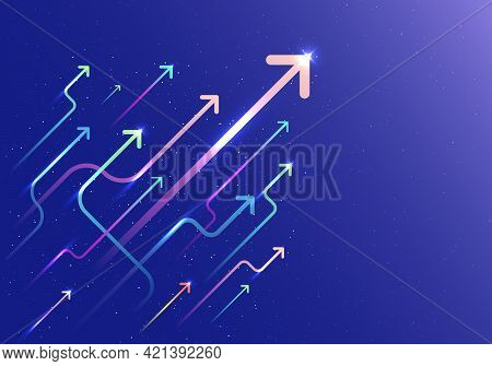 Abstract Arrow Group Moving Up Motion With Lighting Movement On Blue Background. Business Growth Con