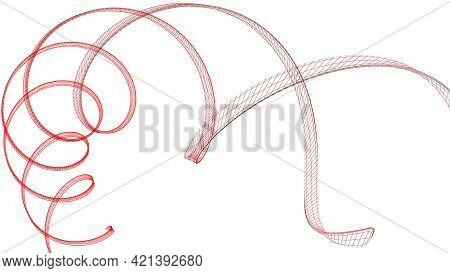 Red Wireframed Helical Structure Isolated On White Background - 3d Rendering Illustration