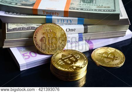 Bitcoin And Money Stacks, Digital Virtual Crypto Currency Bitcoin Btc With Cash Pile. Much Of Euro A