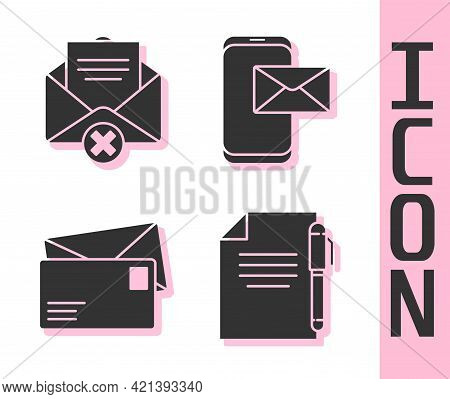 Set Document And Pen, Delete Envelope, Envelope And Mobile And Envelope Icon. Vector