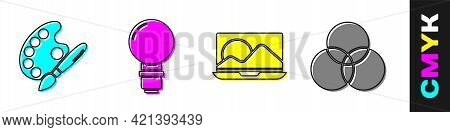 Set Paint Brush With Palette, Light Bulb, Laptop And Rgb And Cmyk Color Mixing Icon. Vector