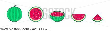 Watermelons. Set Of Hand Drawing Watermelons. Cartoon Watermelons. Doodle Fruits. Vector Illustratio