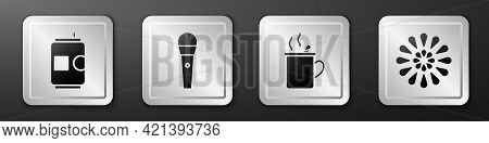 Set Beer Can, Karaoke Microphone, Mulled Wine And Firework Icon. Silver Square Button. Vector