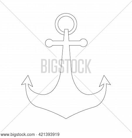 Simple Anchor Icon. Nautical Anchor Mark, Holding The Vessel In Place. Outline, Line Art, Black And