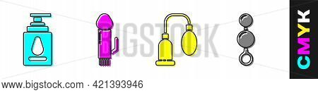 Set Personal Lubricant, Dildo Vibrator, Penis Pump And Anal Beads Icon. Vector