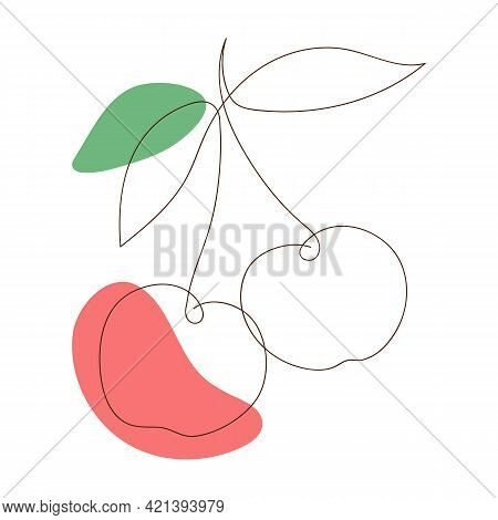 Cherry Line Art Icon, Outline Style, Sweet Cherry Silhouette, Symbol, Sign. Illustration One Line Dr