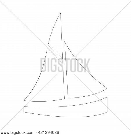 Simple Sailboat Icon. Boat For Summer Sailing Or Yachting. Outline, Line Art, Black And White Icon,
