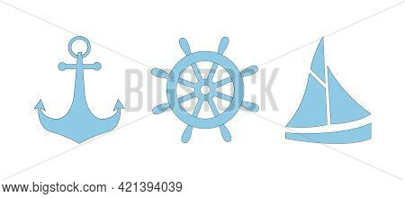 Set Of Blue Nautical Icons With Black Outline - Anchor, Steering Wheel And Boat. Simple Vector Icons