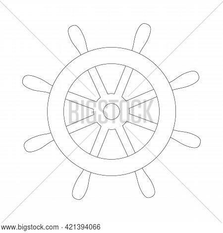 Simple Steering Wheel Icon. Steer The Ship, Turn The Steering Wheel. Outline, Line Art, Black And Wh