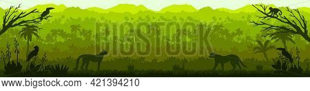 Jungle Forest Vector Silhouette, Green Tropical Nature Background, Amazon Rainforest Panoramic Lands