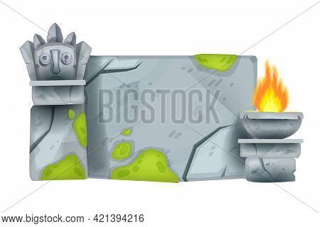 Cartoon Stone Sign Board, Rock Game Block, Vector Maya Totem Face, Fire Plate, Moss, Granite Cracks.