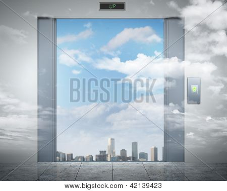 the elevator doors and the natural landscape behind them