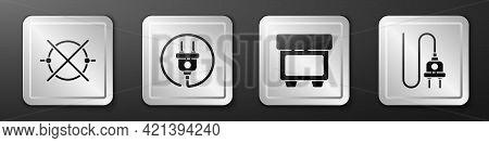 Set Electric Circuit Scheme, Electric Plug, Fuse And Electric Plug Icon. Silver Square Button. Vecto
