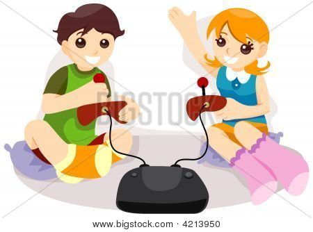 poster of An Illustration of Kids Playing Video Game with Clipping Path