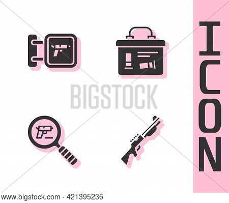 Set Hunting Gun, Shop Weapon, Pistol Or Search And Military Ammunition Box Icon. Vector