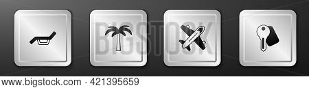 Set Sunbed And Umbrella, Tropical Palm Tree, Plane And Hotel Door Lock Key Icon. Silver Square Butto