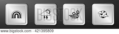 Set Rainbow, Storm, Windy Weather And Earth Planet With Clouds Icon. Silver Square Button. Vector