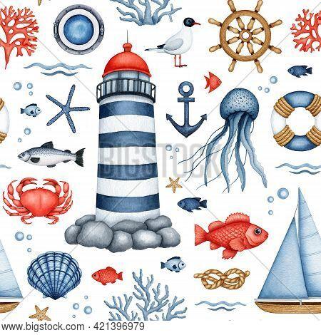 Watercolor Nautical Seamless Pattern. Hand Drawn Lighthouse, Sailboat, Ship Equipment. Sea Life. Und