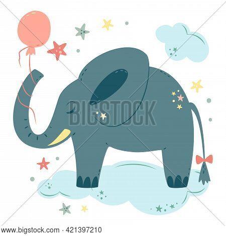 Nursery Vector Illustration In Cartoon Style. Cute Baby Elephant With Balloon Sleeps On Cloud. For B