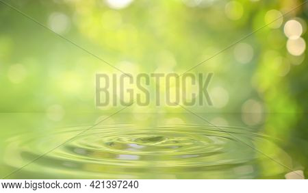 Green Water Drop Background In Nature Green Water Drop Background