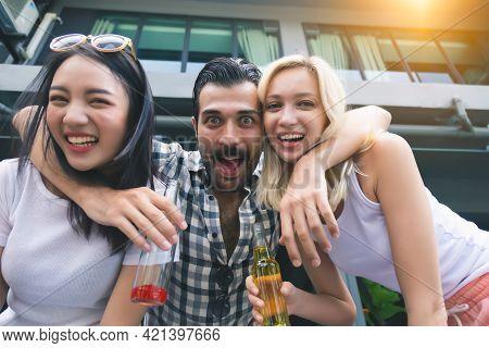 Group Of Friends Having Party Handsome Man Hug Friend Or Beautiful Women Happy Friend Get Celebratin