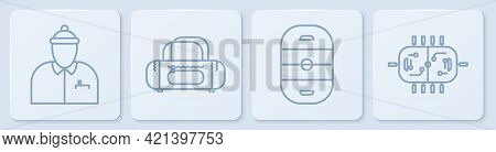 Set Line Hockey Coach, Ice Hockey Rink, Sport Bag And Hockey Table. White Square Button. Vector