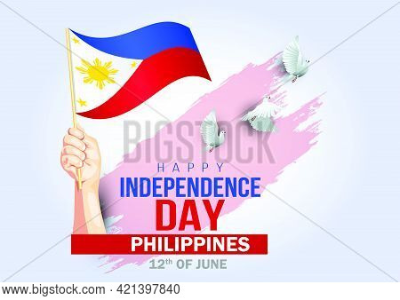 Happy Independence Day Philippines 12th June. Vector Illustration. Greeting Card.
