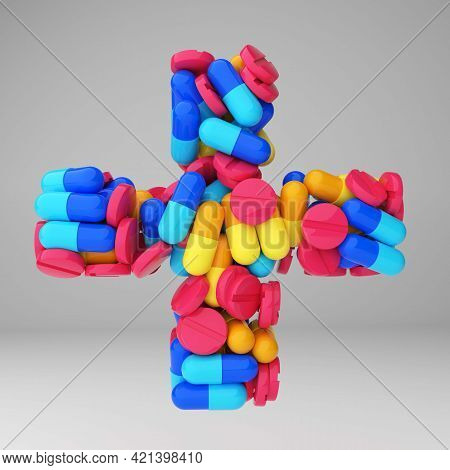 A Pharmacy Symbol Made Of Multicolored Pills. 3d Illustration Of The Pharmacy Plus. Banner For A Pha