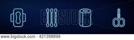Set Line Paper Towel Roll, Sanitary Napkin, Cotton Swab For Ears And Nail Scissors. Glowing Neon Ico