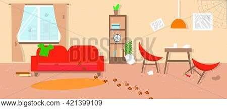 Dirty Living Room In Beige Color Before Cleaning. Tiding Service. Flat Style. Vector Stock Illustrat