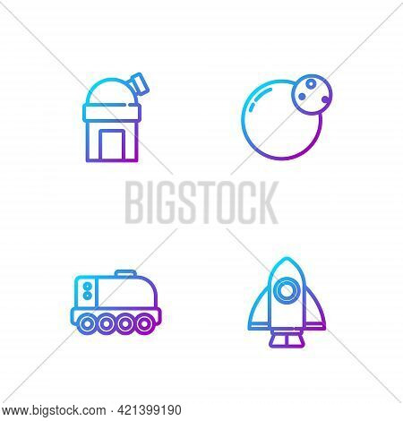 Set Line Rocket Ship, Mars Rover, Astronomical Observatory And Planet. Gradient Color Icons. Vector